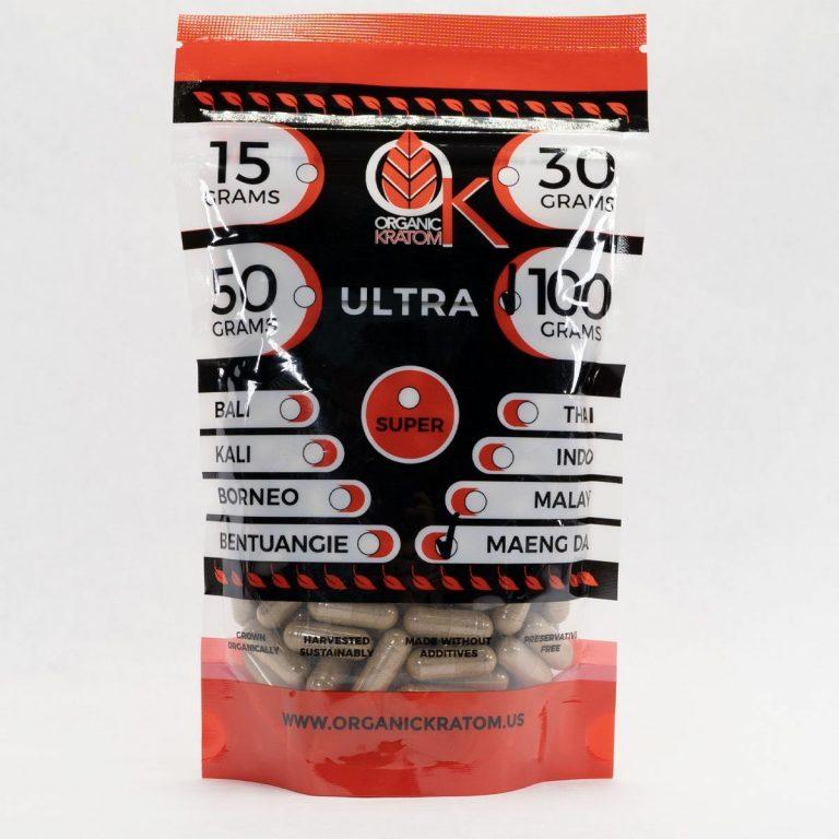 Ultra Pure Organics Kratom Red Maeng Da 100g Capsules