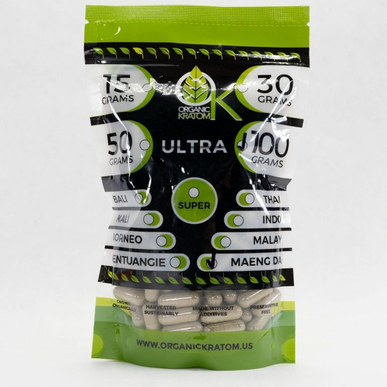 Ultra Pure Organics Kratom Green Maeng Da Capsules 100g